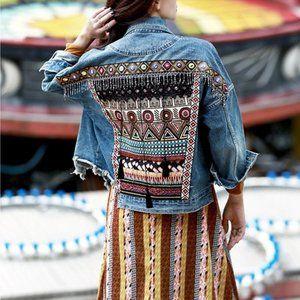 NWT Tribal Embroidered Boho Jean Jacket